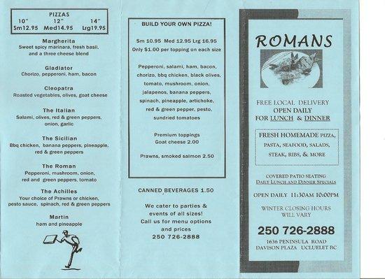 Romans menu front 2014