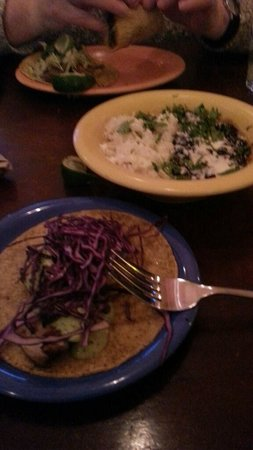 El Rayo Taqueria: Swordfish taco and black beans/rice/sour cream