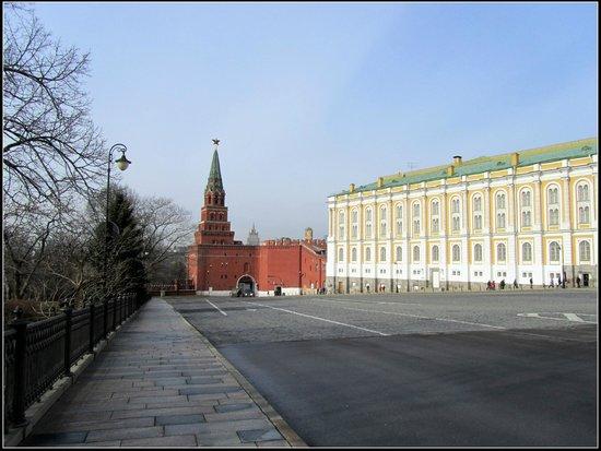 La Armería (Oruzheynaya Palata): Вид на башню и  вход на территорию Кремля.