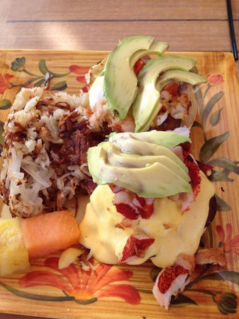 Cafe on the Beach at The Palms Resort: Lobster eggs Benedict! Yum!