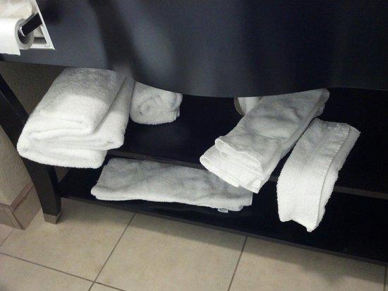 La Quinta Inn Pigeon Forge Dollywood: No towel racks, just shelves