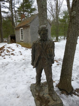 Walden Pond State Reservation: replica cabin & Thoreau statue