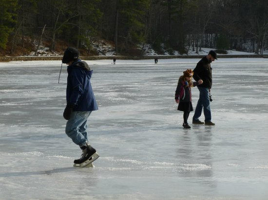 Walden Pond State Reservation: an ice skater on the pond