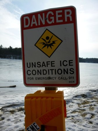 Walden Pond State Reservation: danger sign found after we'd be walking on the ice!
