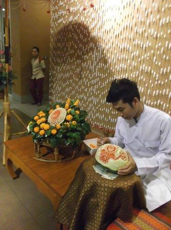 Siam Niramit Phuket: Fruit Carving inside the resto