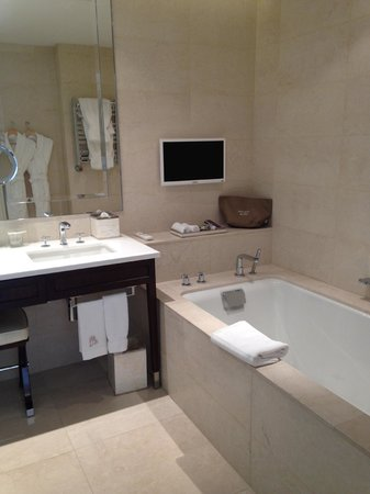 The Ritz-Carlton, Montreal: Absolutely incredible soaking tub - with a TV mounted on the wall to boot
