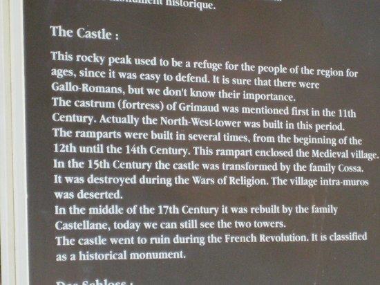 Grimaud Castle: Description of the Castle at Grimaud