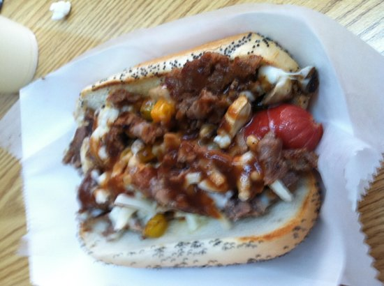 Smoky Mountain Shakes N Dawgs: Philly cheese steak dog
