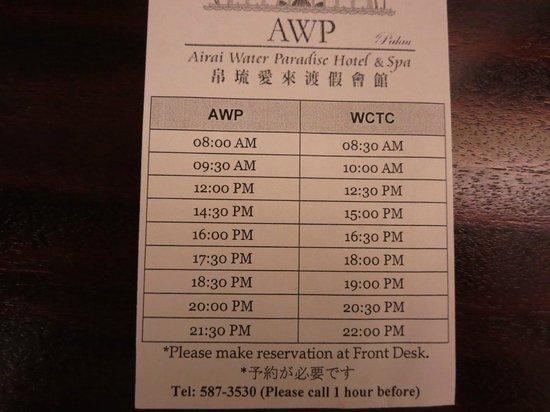 Airai Water Paradise Hotel & Spa: シャトルバスのタイムテーブル