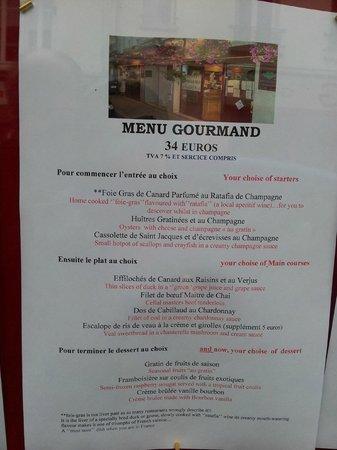 La cave a Champagne: The menu