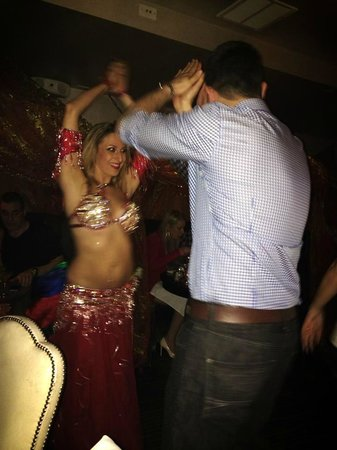 Casa La Femme : My hubby dancing with the belly dancer!