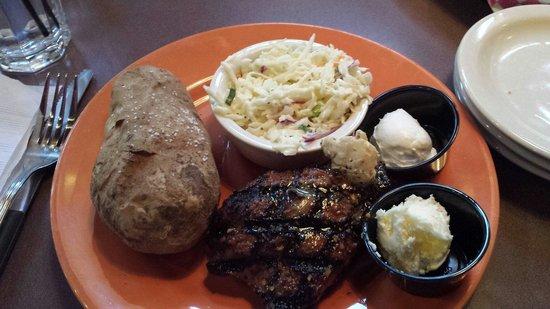 "Calhoun's Gatlinburg: ""Ale"" Steak, Cole Slaw, Baked Potato"