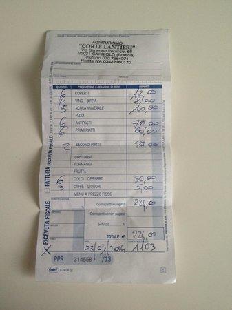 Capriolo, Italia: Ricevuta con prezzi differenti da quelli esposti
