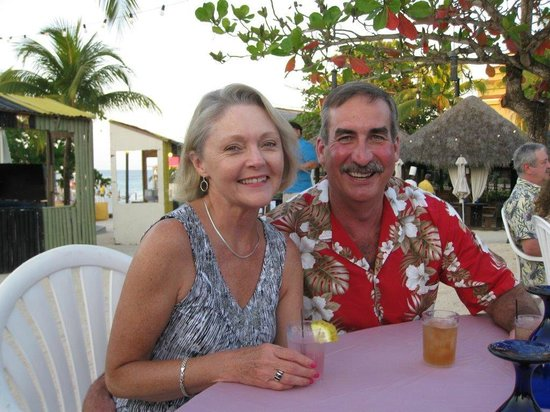 Sandals Ochi Beach Resort : Debbie and I at the beach party Friday night.