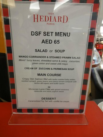 "Hediard: The ""DSF"" set menu at Hédiard Dubai, as displayed on March 13th, 2014 -- almost one month after"