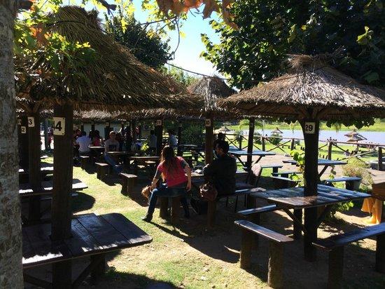 LA RUEDA RESTAURANTE: Jardin con Vista al Rio