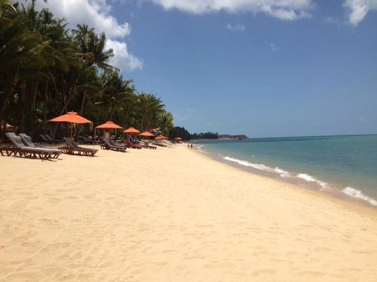 Santiburi Beach Resort & Spa: Strand steil abfallend