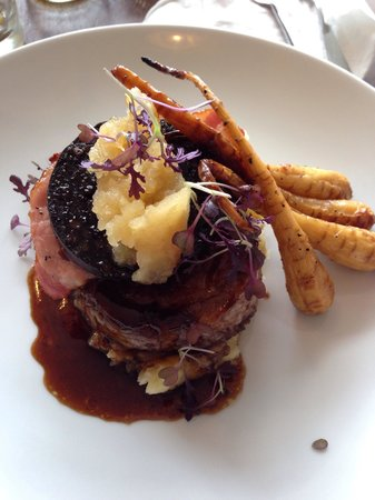 The Gower Kitchen  Pork belly with black pudding and bacon  with truffle  mash and. Pork belly with black pudding and bacon  with truffle mash and