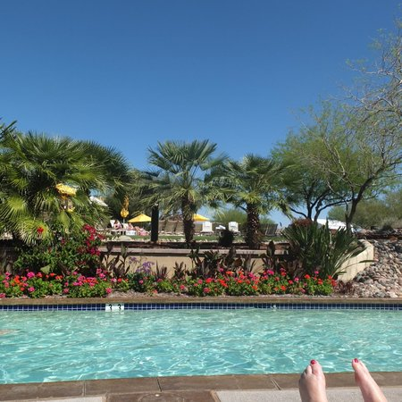 JW Marriott Phoenix Desert Ridge Resort & Spa : View from sun lounger at theside of the resort's lazy river