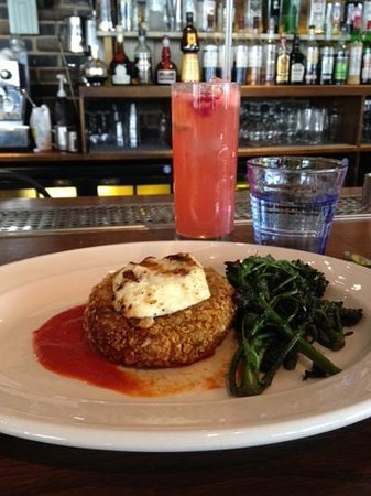 The Riding House Cafe: Chickpea Cake with Grilled Halloumi and a Raspberry Collins