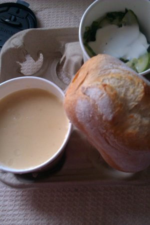 Burnt Tongue: parsnip/pear soup with cucumber salad