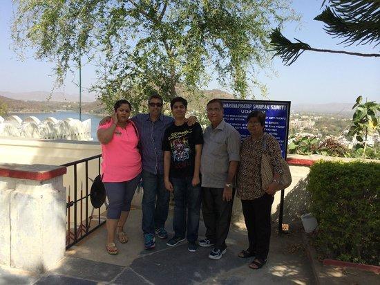 Maharana Pratap Memorial: Family photo on top of the memorial with Aravali Mountain view