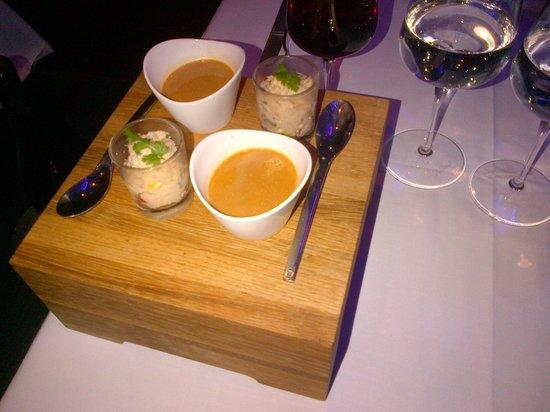 L'Eveil des Sens : velouté bisque de homard et rillettes de poissons