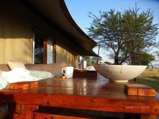 Sayari Camp, Asilia Africa : Le café du matin sur la terrasse de notre tente