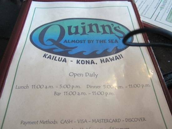 Quinn's Almost By The Sea: menu