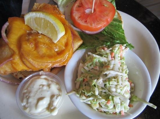 Quinn's Almost By The Sea: ono sandwich and pineapple cole slaw...yummy!