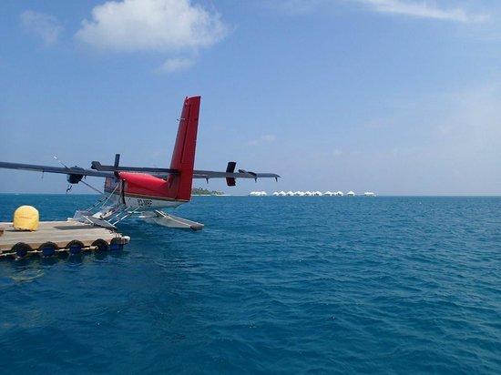 Diamonds Athuruga : Seaplane landing in lagoon