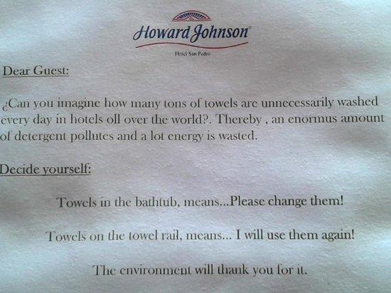 Howard Johnson Hotel & Marinas San Pedro Resort: Observar ortografía y gramática, imperdible!