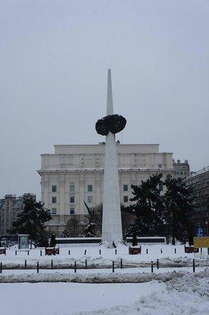 Revolution Square (Piata Revolutiei): The rather ugly Rebirth memorial.