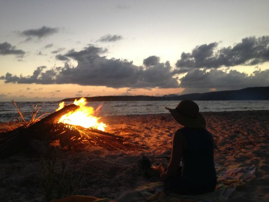Abe's Snorkeling and BioBay Tours: Dinner by the fire, on the beach, at sunset!
