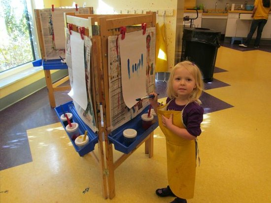 Delaware Children's Museum: The art studio. Paint and also a project.
