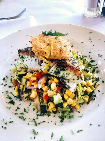 Yanni's: halibut with panko poached egg & calabacitasr