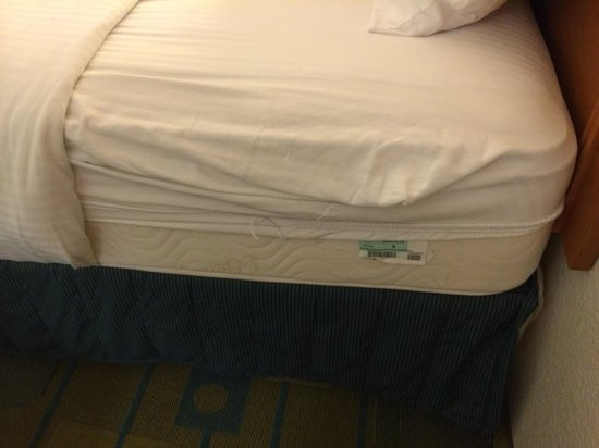 La Quinta Inn Fresno Yosemite: The sheets don't fit the beds—which is a shame because the pillow top beds are the only saving g
