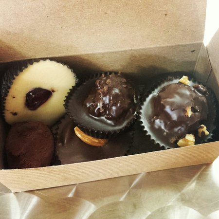 Apalachicola Chocalate Company : Assortment of chocolates! The blueberry with dark chocolate is to die for.