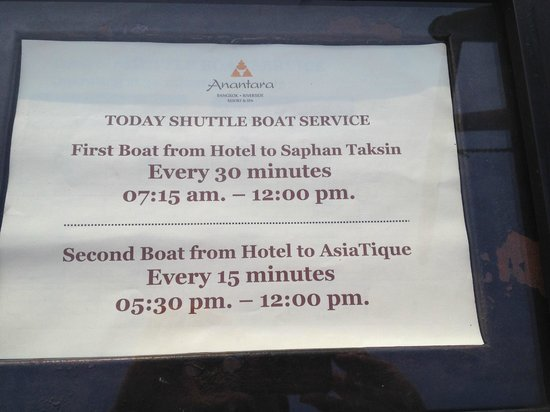 Anantara Riverside Bangkok Resort : Shuttle schedule-should say 12:00 AM not PM