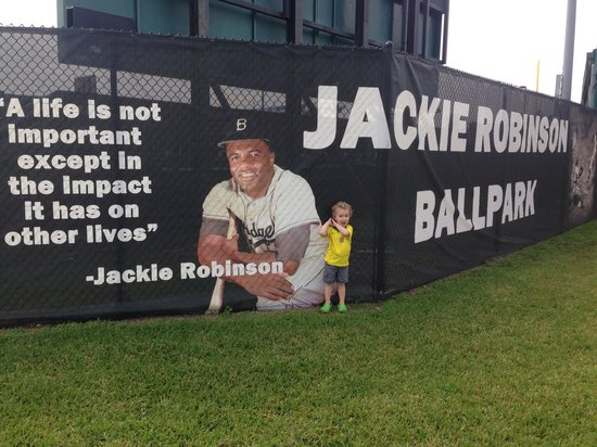 Jackie Robinson Ballpark and Statue: Batting with 42