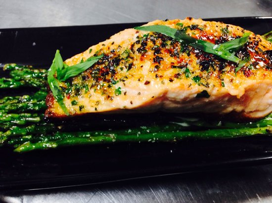 Chimichurri Grill : King salmon and grilled baby asparagus