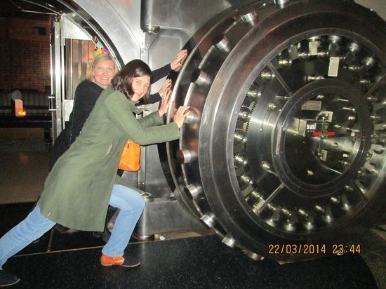 The Bedford: my friends pretending to be closing the vault door
