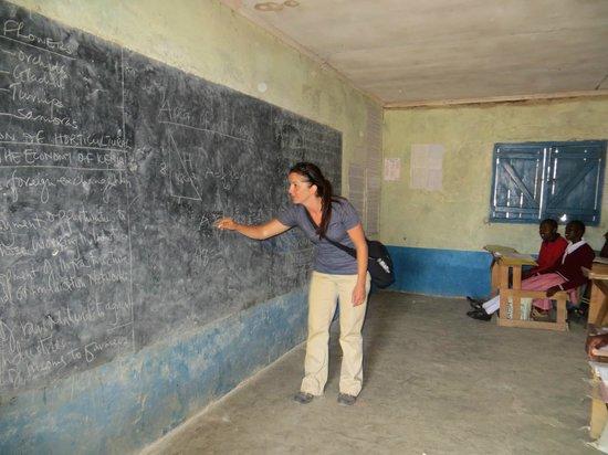 Kicheche Bush Camp: My friend teaching at the local Masai school