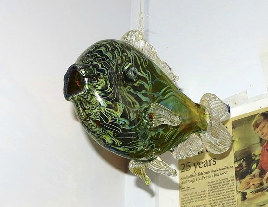 Doug's Fish Fry : Hand crafted glass fish as decoration