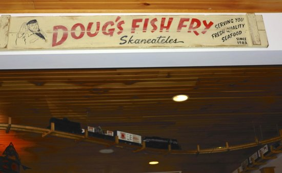 Doug's Fish Fry : ld sign with train in background