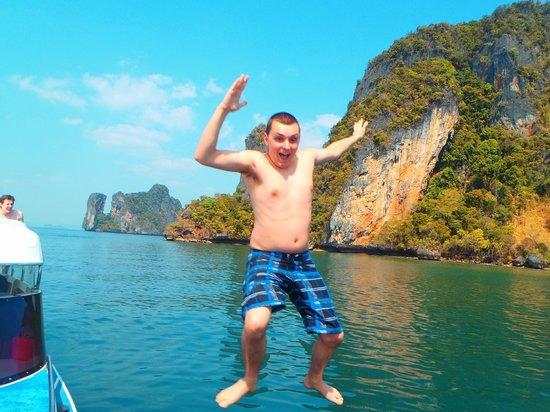Phuket Sail Tours: Having some silly fun jumping in