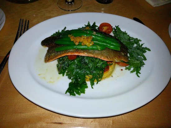 The Aerie Restaurant : trout with arugula and polenta