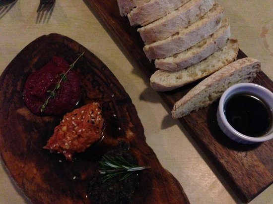 Seabean Tapas Bar Restaurant : Part of the wet season special but can also be ordered. Trio of dips with bread - Beetroot, swee