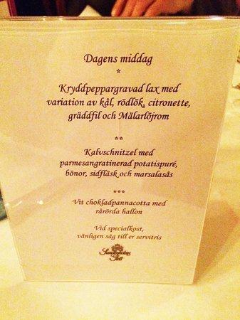 Sundbyholms Slott: Evening menu