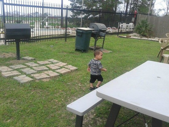 Motel 6 Livingston TX : Several BBQ grills and gated pool. Very relaxing!